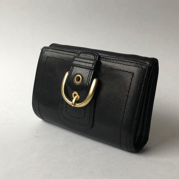 EUC Coach black leather wallet horsebit buckle
